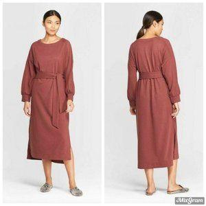 Prologue Long Sleeve Boat Neck Midi Dress Large